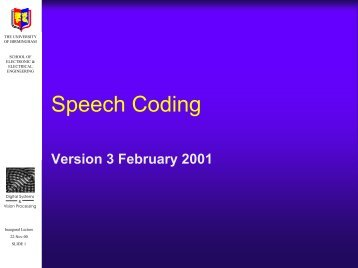 Speech coding - University of Birmingham
