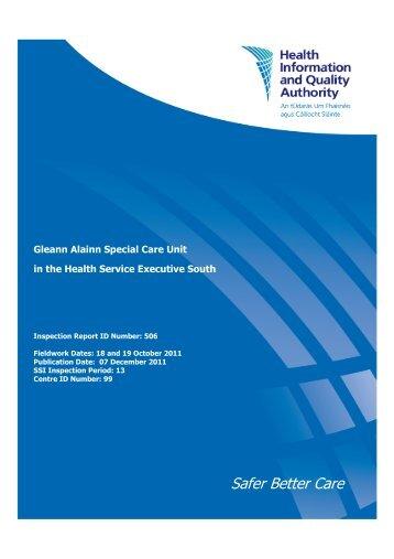 Gleann Alainn Special Care Unit inspection report number ... - hiqa.ie