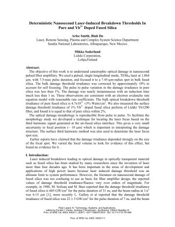 Deterministic Nanosecond Laser-Induced Breakdown Thresholds In ...