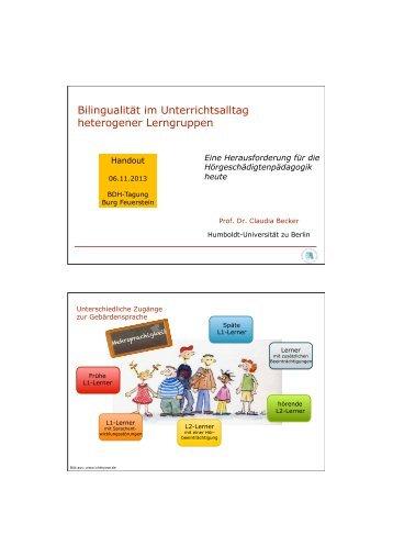 Bilingualität im Unterrichtsalltag heterogener Lerngruppen