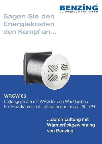Produktinformationen WRGW 60... - Benzing Ventilatoren Startseite