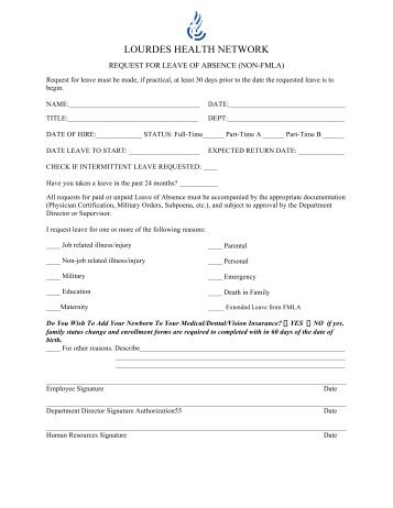 Employee Leave Form. Request For A Voluntary Leave Of Absence For ...