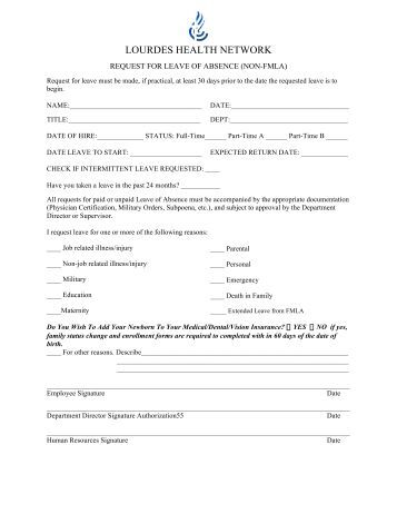 Absence Request Form Leave Authorization Form Leave Request