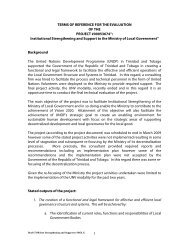 terms of reference for the final evaluation - UNDP Trinidad and Tobago