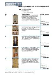 Abverkauf - Badstudio Ausstellungsmuster - Badprodukte