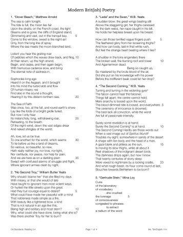 Modern Poetry - Rowland High School