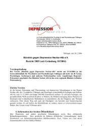 Bericht 2005 (seit Gründung 10/2004) - Bündnis gegen Depression