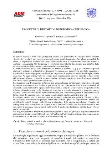 1. Tecniche e strumenti della robotica chirurgica - Università degli ...
