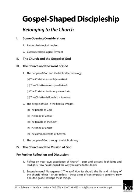 03 GSD Handout - The London Institute for Contemporary Christianity