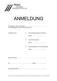 Anmeldeformular HPS - Rheinfelden Schulen