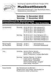 Vorspiel-Programm Arbon 2010 - Musikschulen Thurgau