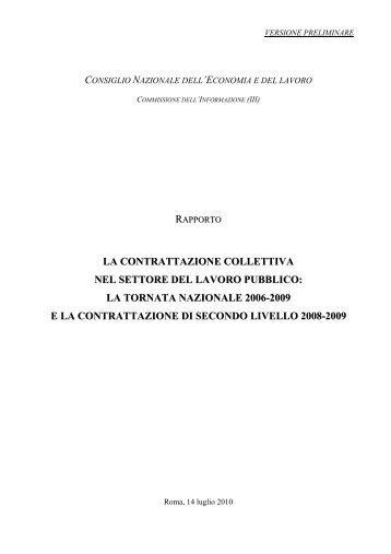 la contrattazione collettiva nel settore del lavoro pubblico - Cnel