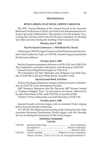 2006 Minutes of Synod - Associate Reformed Presbyterian Church