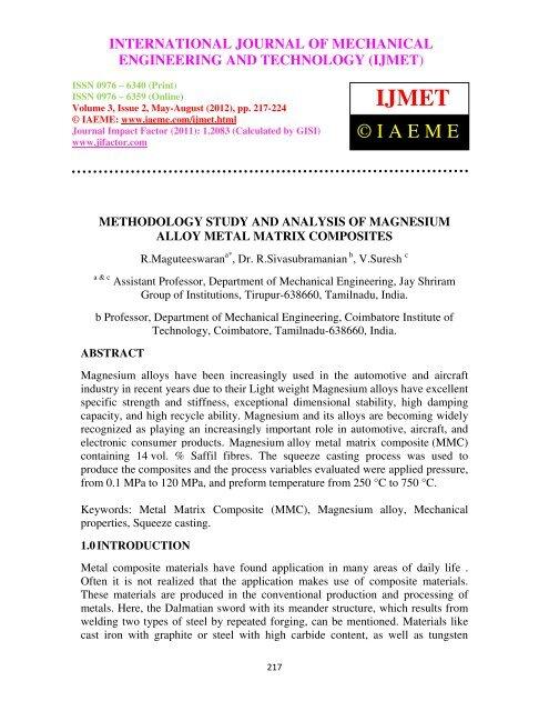 methodology study and analysis of magnesium alloy