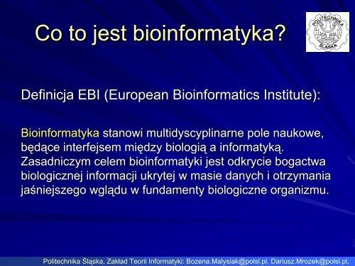 Bioinformatyczne bazy danych - Zakład Teorii Informatyki