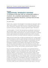 ARQUITETURA, INTERAÇÃO E SISTEMAS 'A ... - Nomads.usp