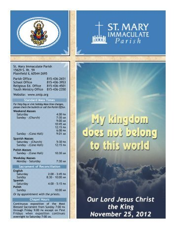 Our Lord Jesus Christ the King November 25, 2012 - St Mary ...