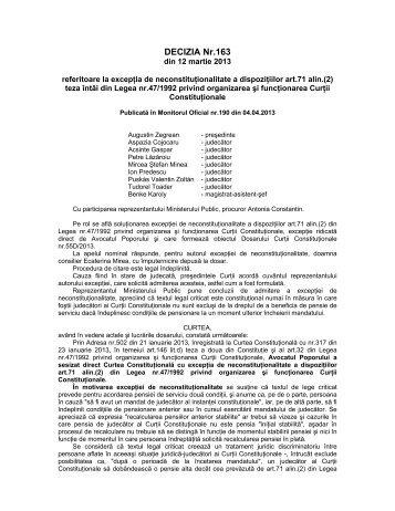 5. Decizia nr. 163 din data de 12.03.2013 - Curtea Constituţională a ...