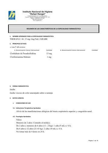 THERAFLU AL 15 mg-1mg/5mL JARABE Clorhidrato de ...