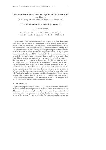 Propositional bases for the physics of the Bernoulli oscillators (A ...