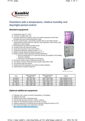 Chambers with a temperature, relative humidity and ... - AMTEST-PL