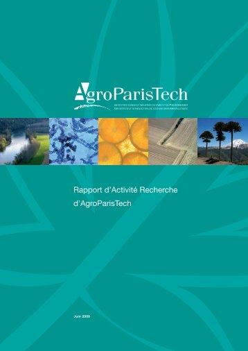 Rapport d'Activité Recherche d'AgroParisTech