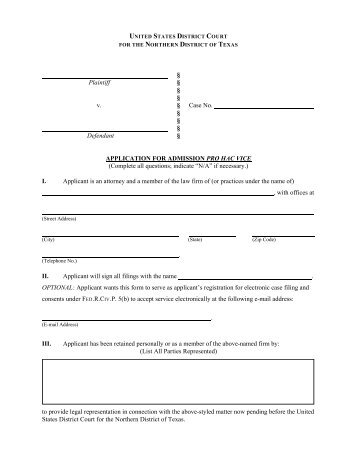Application for Admission Pro Hac Vice - US District Court - Northern ...