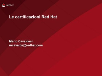 Le certificazioni Red Hat - ISACA Roma