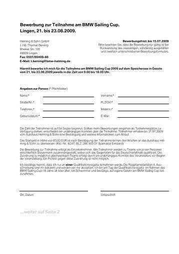bewerbung zur teilnahme am bmw sailing cup lingen helming - Bmw Bewerbung