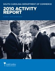 2010 ACTIVITY REPORT - South Carolina Department of Commerce