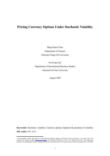 Pricing Currency Options Under Stochastic Volatility