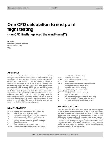 One CFD calculation to end point flight testing