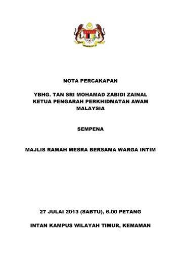 Teks Ucapan - Majlis Amanat KPPA kepada Warga INTIM - JPA