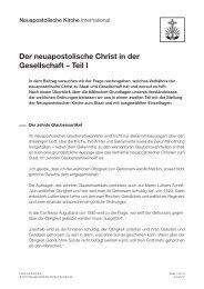 Der neuapostolische Christ in der Gesellschaft – Teil I