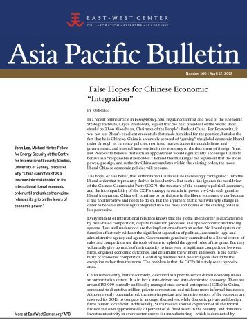 "False Hopes for Chinese Economic ""Integration"" - East-West Center"