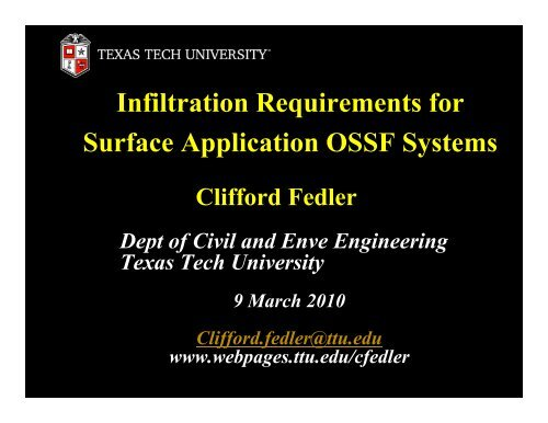 Infiltration Requirements for Surface Application OSSF Systems