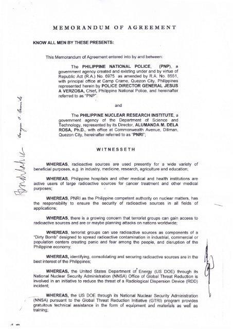 Memorandum Of Agreement Pnp Directorate For Operations