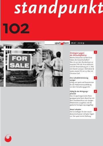 Standpunkt 102, Mai 2009 - vpod Bern