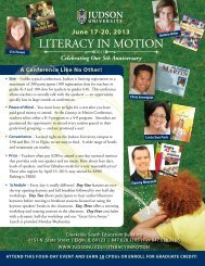 Literacy in Motion, June 17-20, 2013 - Judson University