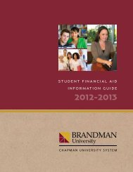 Student Financial aid inFormation Guide - Brandman University