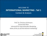 INTERNATIONAL MARKETING : Teil 1 - Chair of International ...