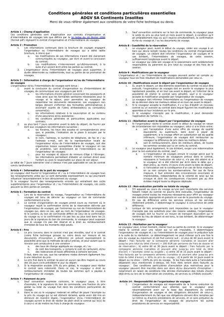 Conditions générales + conditions particulières essentielles