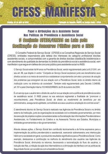 O Conjunto CFESS/CRESS na Luta pela Realização de Concurso ...