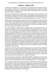 Chronik der Gemeinde Raggal für das Jahr 2007 - Vorarlberger ...