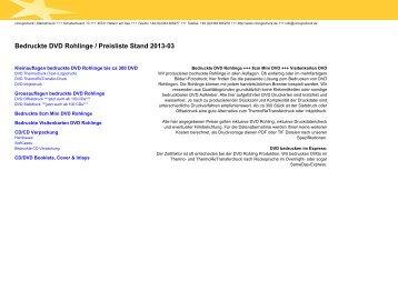 Bedruckte DVD Rohlinge / Preisliste Stand 2012-10 - CD Logodruck