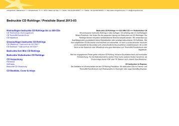 Bedruckte CD Rohlinge / Preisliste Stand 2012-10 - CD Logodruck