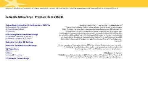 Bedruckte Cd Rohlinge Preisliste Stand 2012 10 Cd Logodruck
