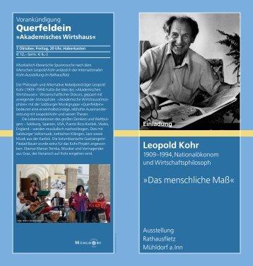 Das menschliche Maß - Leopold Kohr Akademie