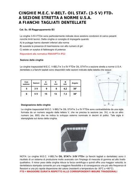 buy online ffb7d d39da CINGHIE M.E.C. V-BELT® OIL STAT® (3-5 V) FTD® A SEZIONE ...
