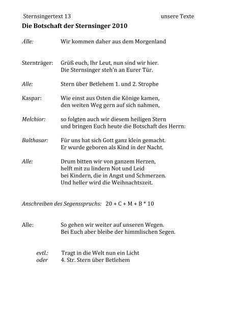 Sternsinger Texte Sternsingerlieder 2019 11 17